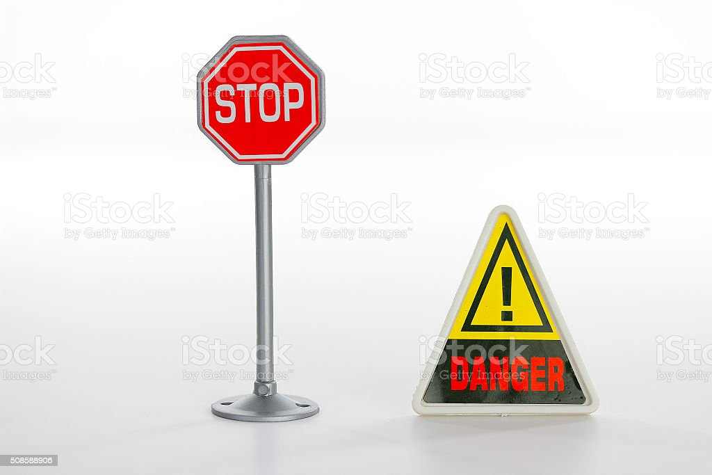 Toy stop road sign stock photo
