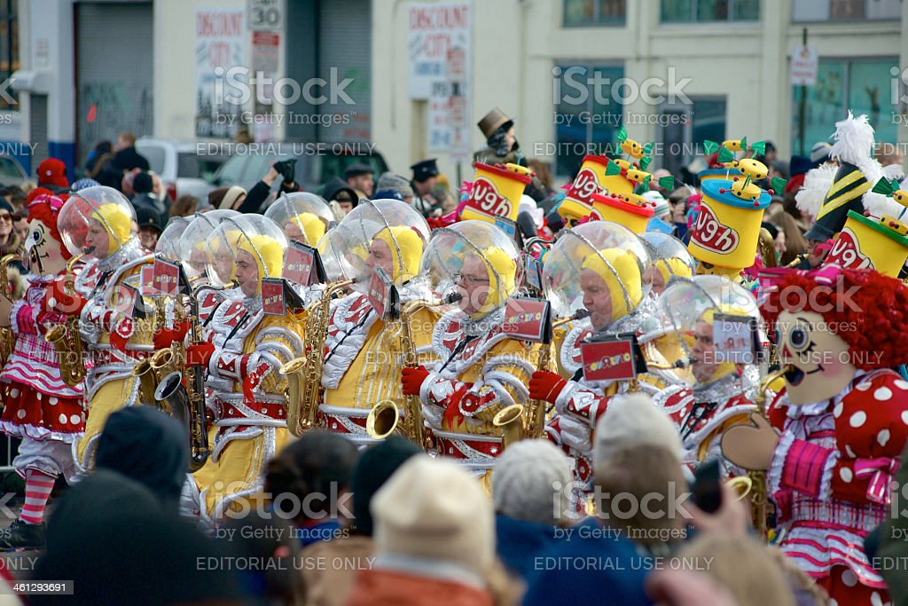 Toy Story themed Mummers takes part in New Year's Parade stock photo