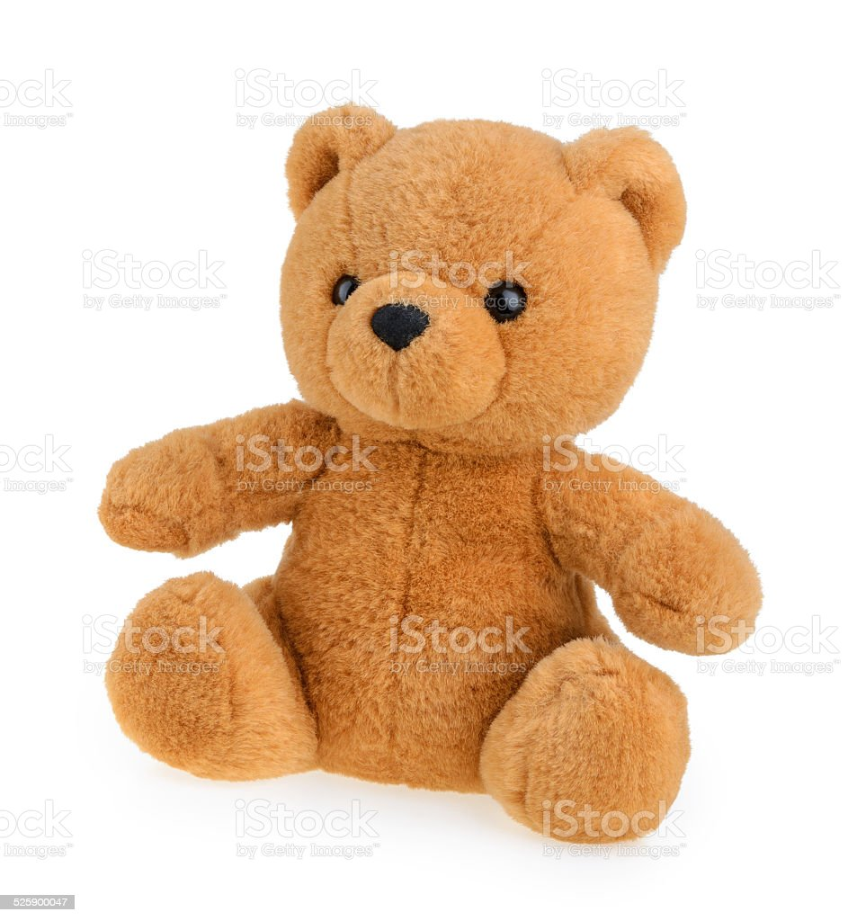 Toy teddy bear isolated on white stock photo