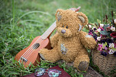 Toy teddy bear sitting on the green grass in the background