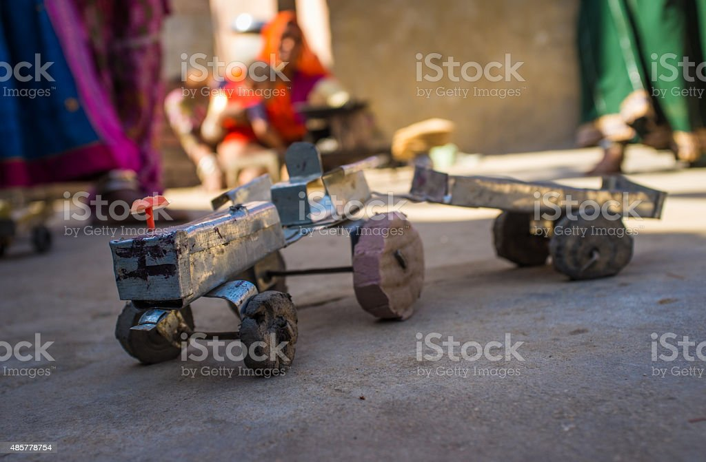 Toy tractor and trailer stock photo