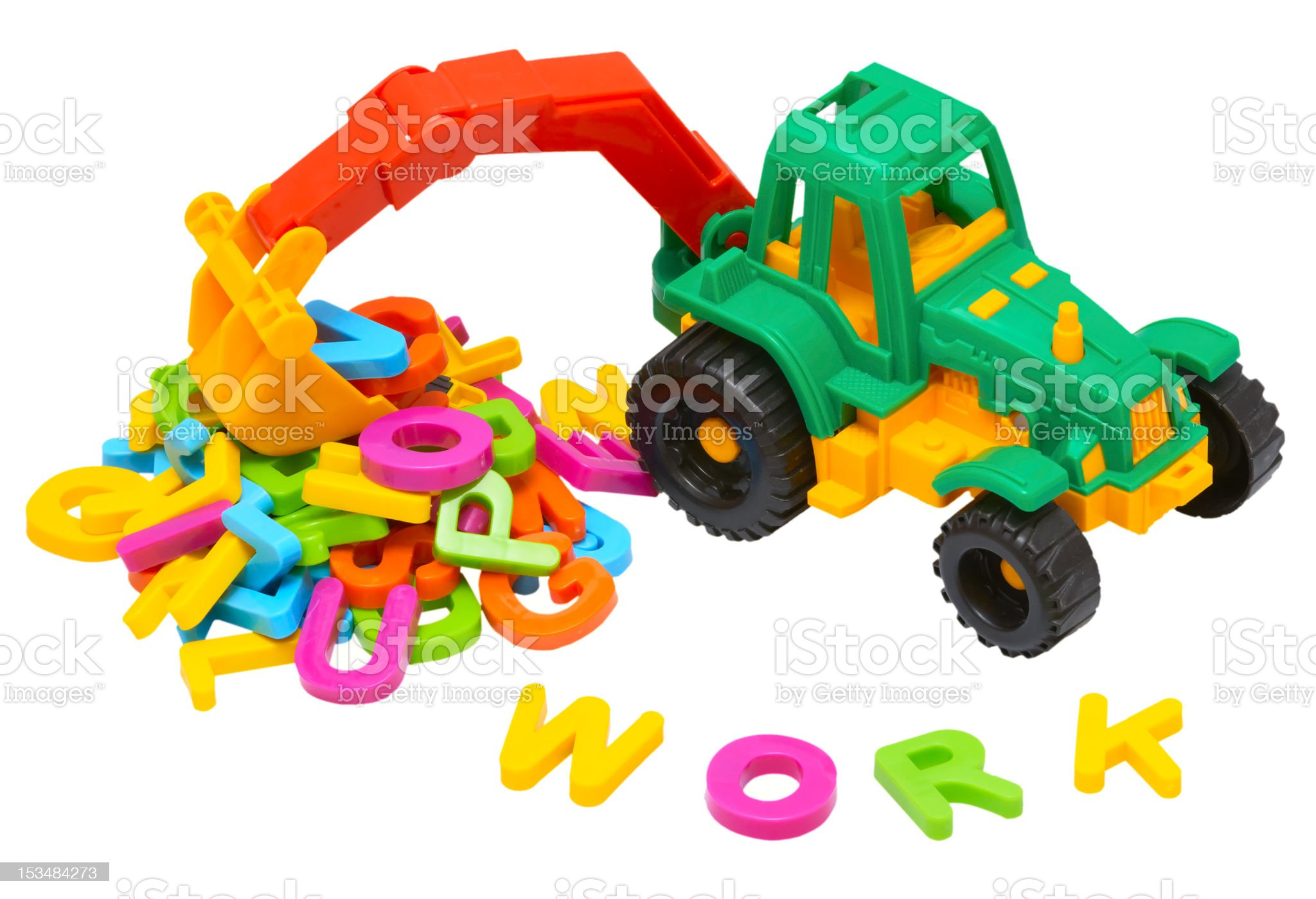 toy tractor and word - work royalty-free stock photo