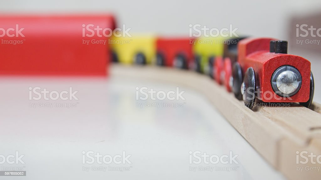 Toy Train and tunnel stock photo