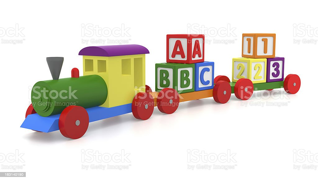 Toy Train & Blocks royalty-free stock photo