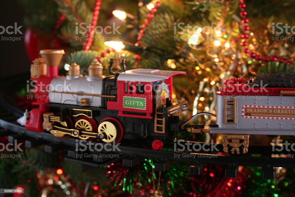 toy train Christmas tree decoration stock photo