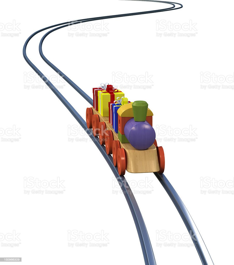 Toy Train with Gift Boxes royalty-free stock photo