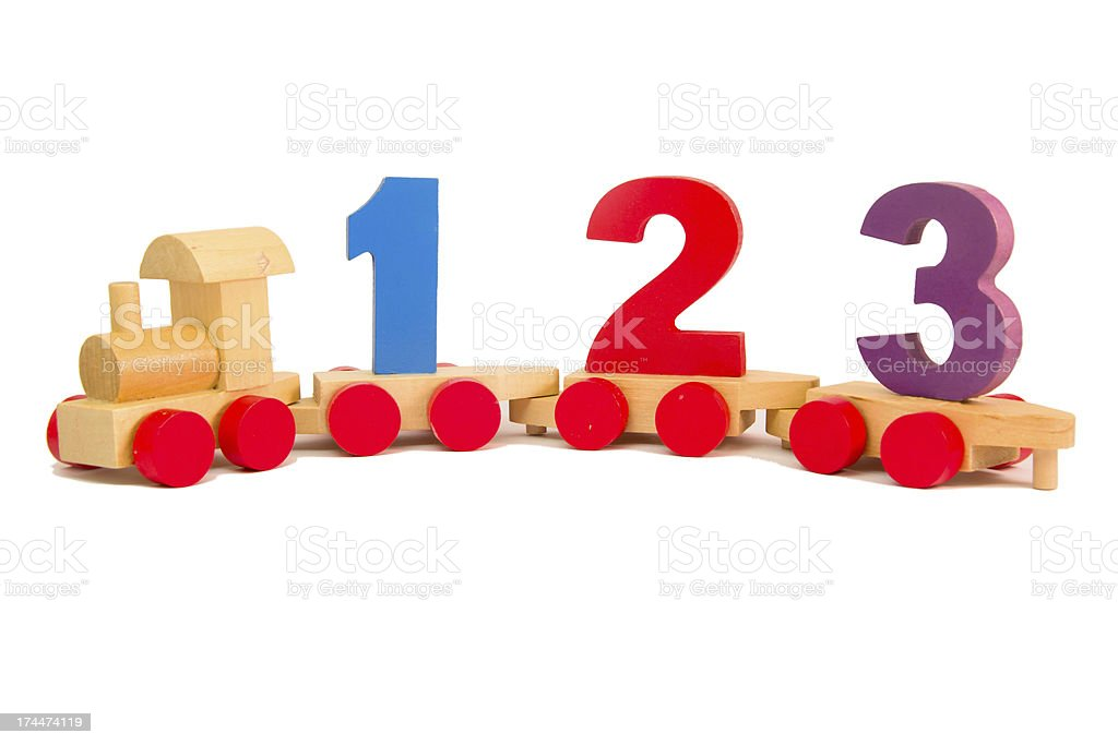 Toy train with numbers stock photo