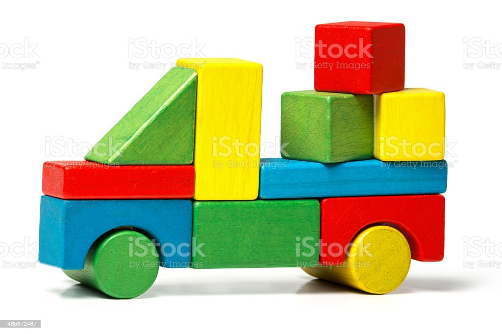 toy truck, multicolor car wooden blocks transportation, cargo delivery stock photo