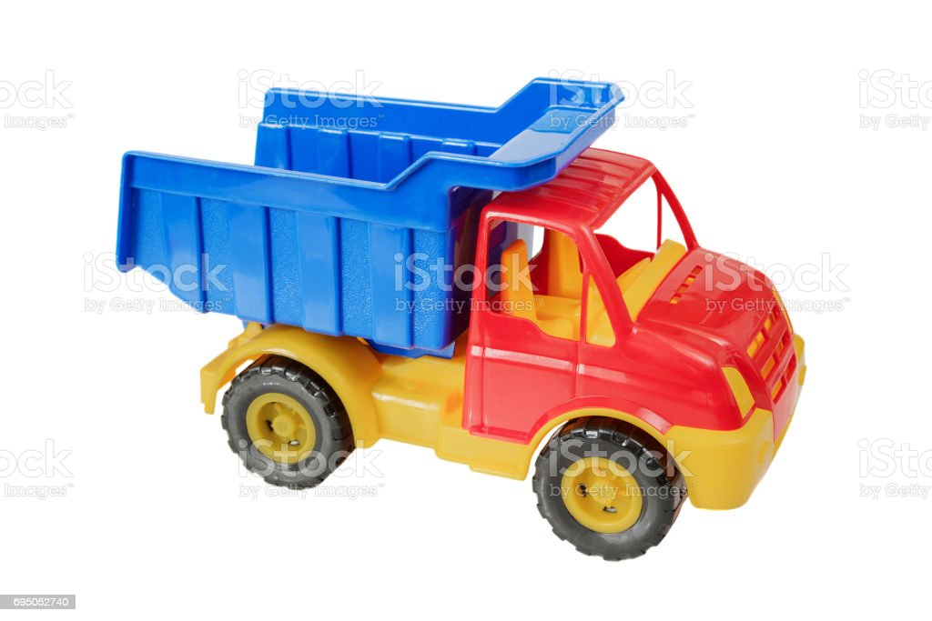 Toy truck on white background stock photo