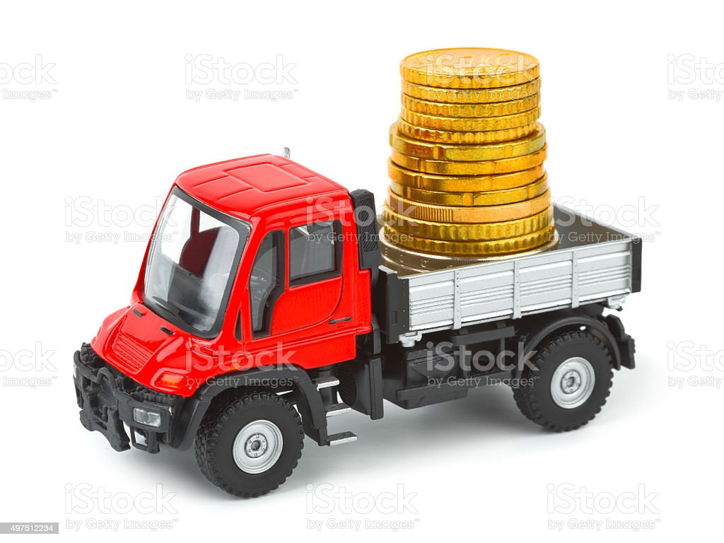 Toy truck with money stock photo