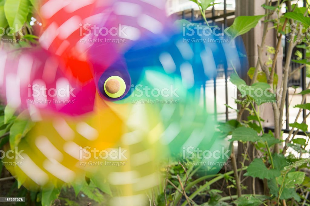 toy windmill air outdoor twirl garden play concept stock photo