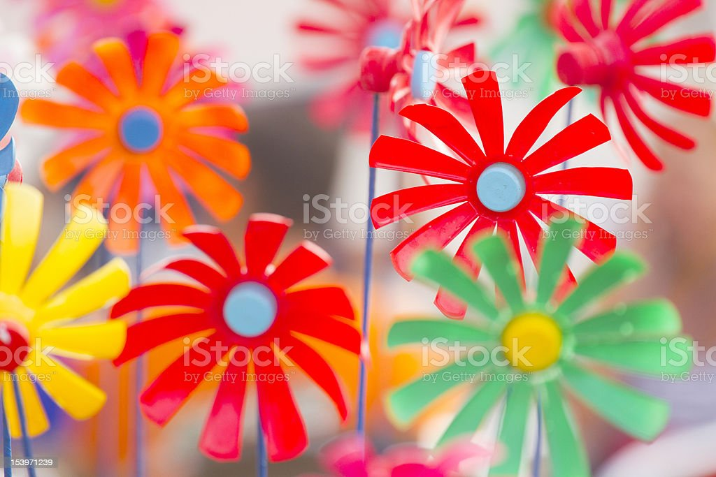 Toy Windmills Made From Bottles royalty-free stock photo