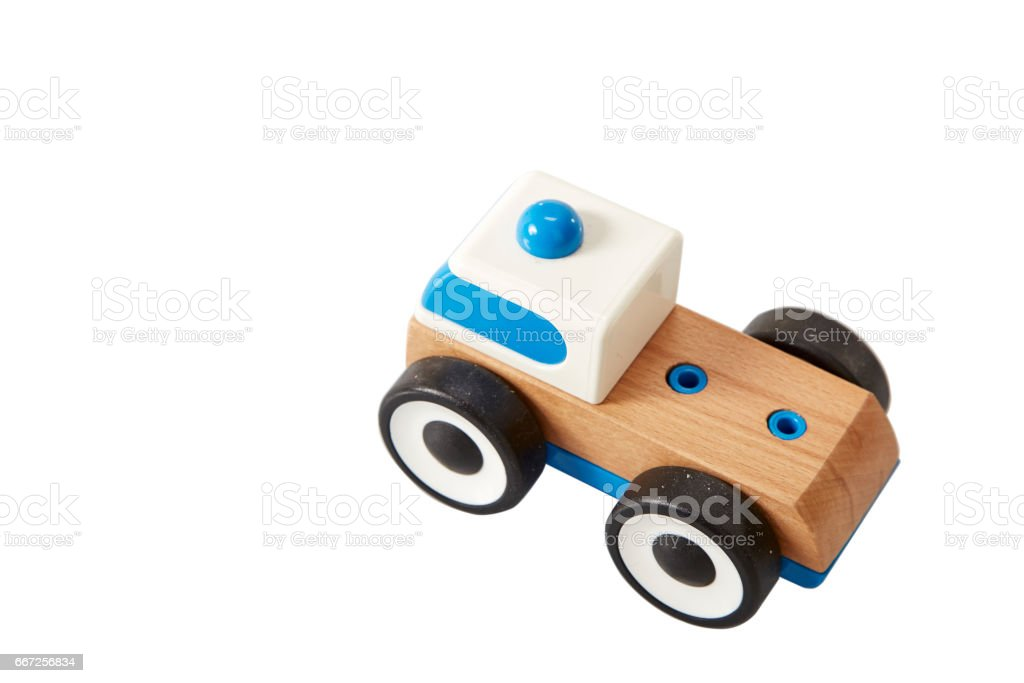 Toy wooden blue car isolated stock photo