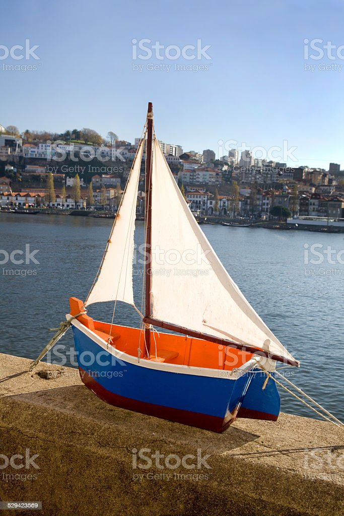 Toy wooden boat stock photo