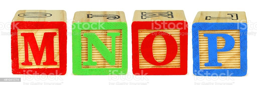 Toy wooden letter blocks M N O P stock photo