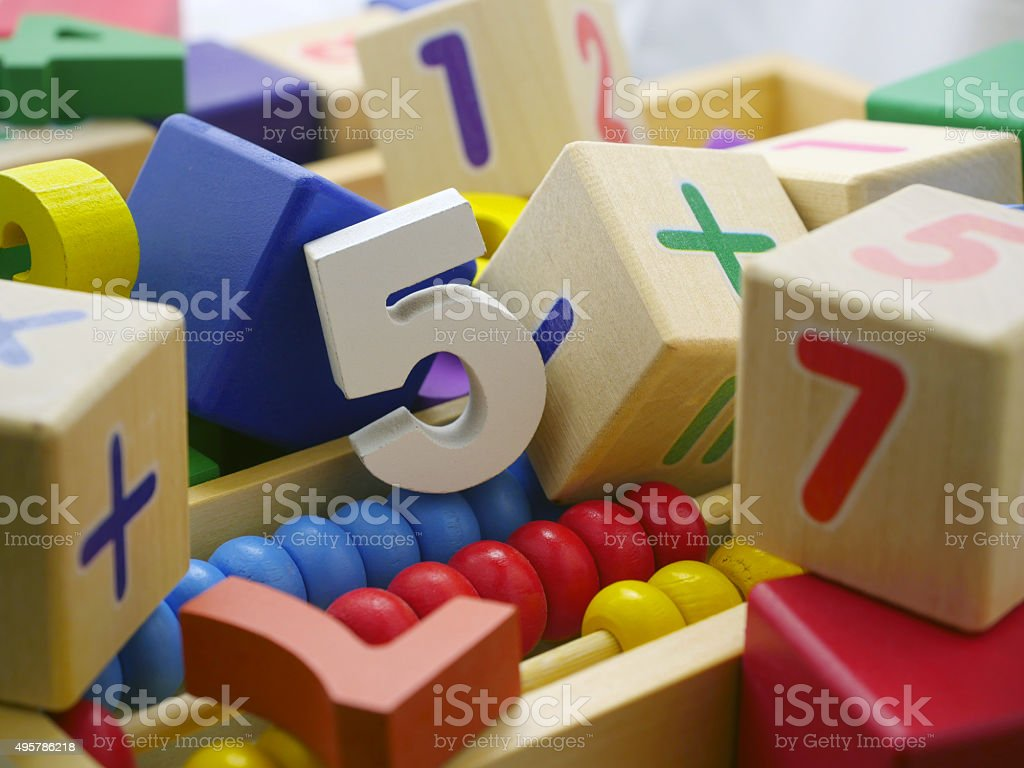 Toy wooden numbers stock photo