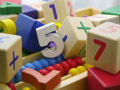Toy wooden numbers