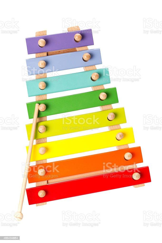 Toy Xylophone isolated on white background stock photo