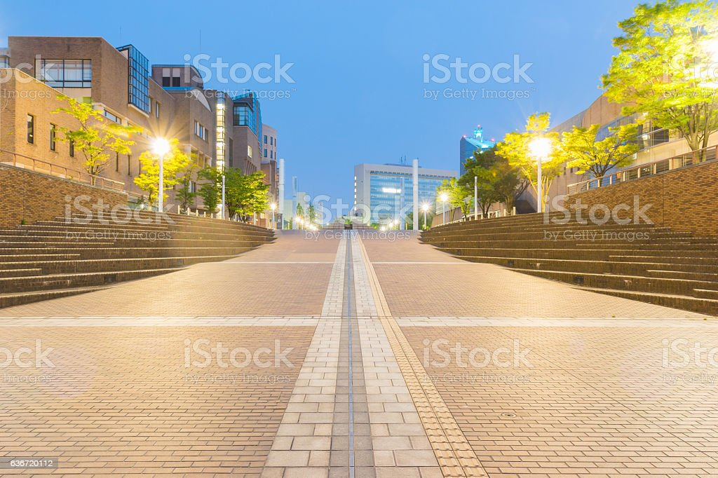 Toyama city architecture building beautiful in twilight time. stock photo