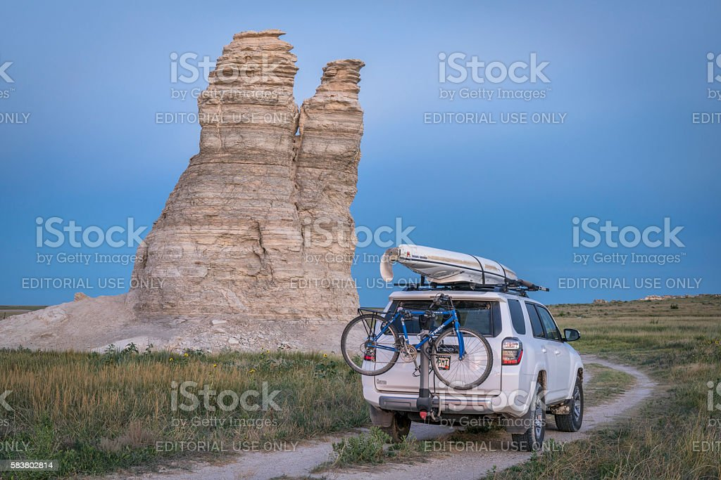 Toyota 4Runner SUV in Kansas back country stock photo