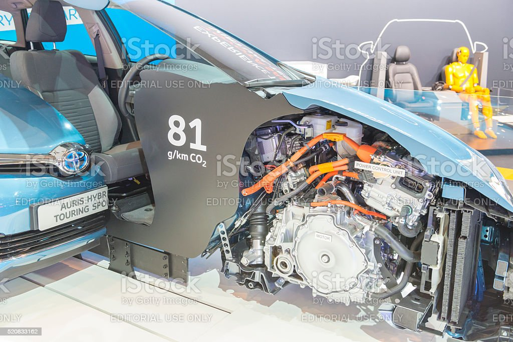Toyota Auris cross section showing the hybrid powertrain stock photo