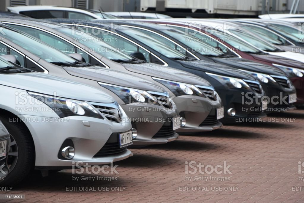 Toyota cars in a row stock photo