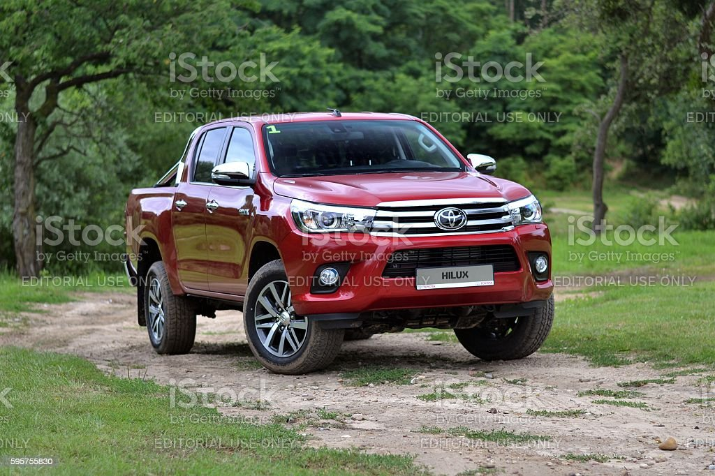 Toyota Hilux on the road stock photo