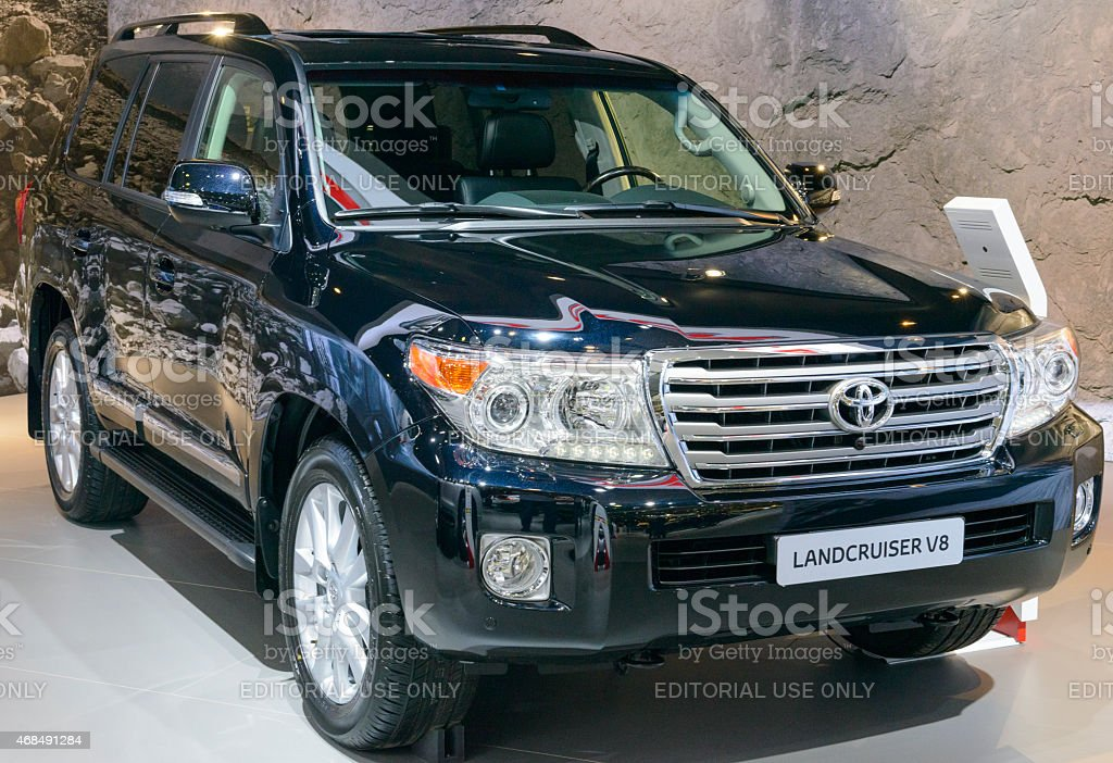 Toyota Land Cruiser V8 4WD off road vehicle front view stock photo