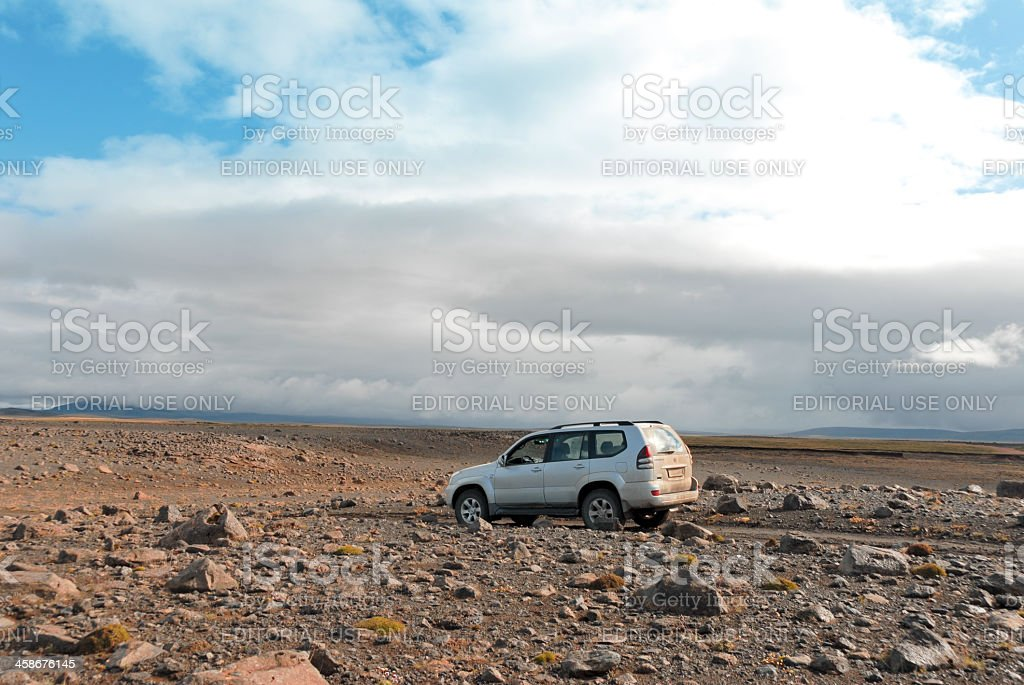 Toyota Landcruiser driving on Kjölur higland road in Central Iceland royalty-free stock photo
