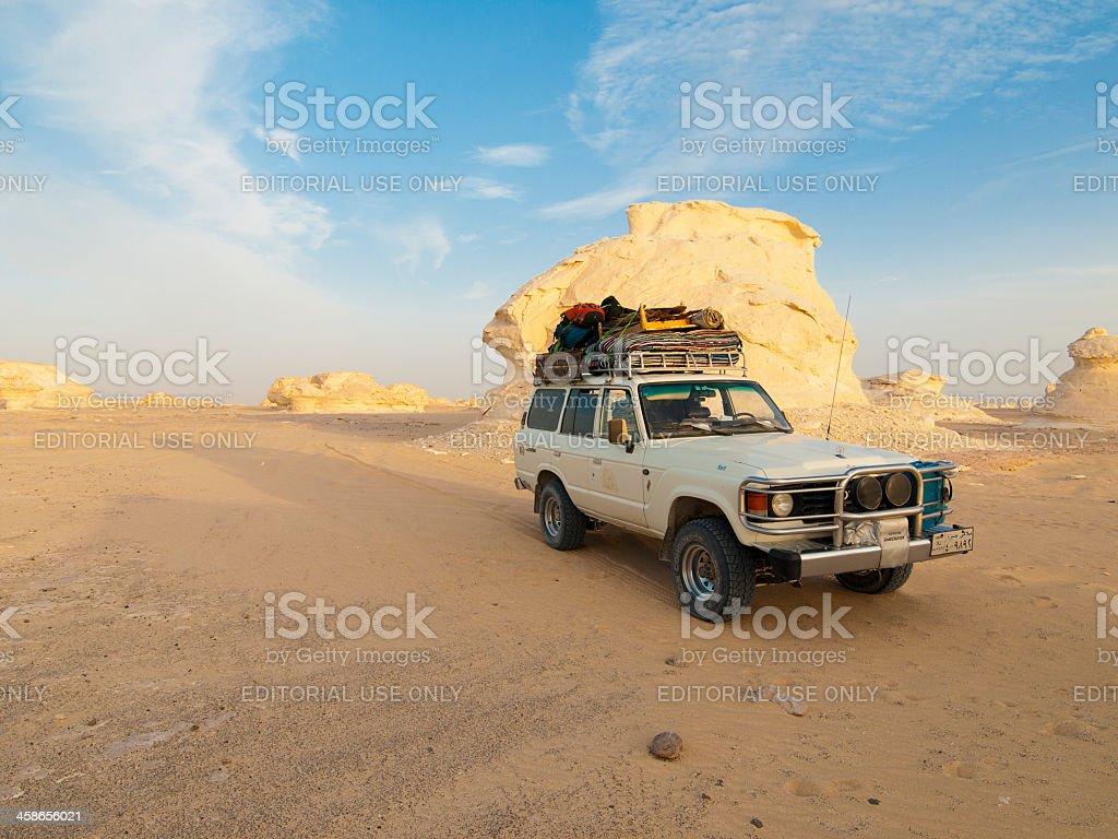 Toyota Landcruiser stands in the white desert, Egypt stock photo