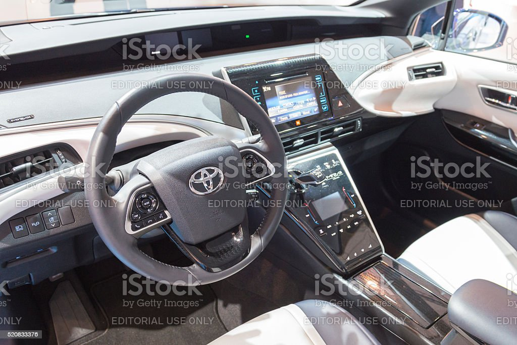 Toyota Mirai hydrogen fuel cell car dashboard stock photo
