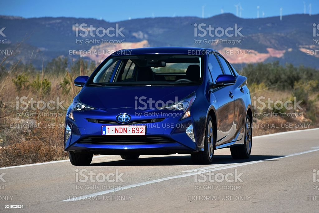Toyota Prius on the road stock photo
