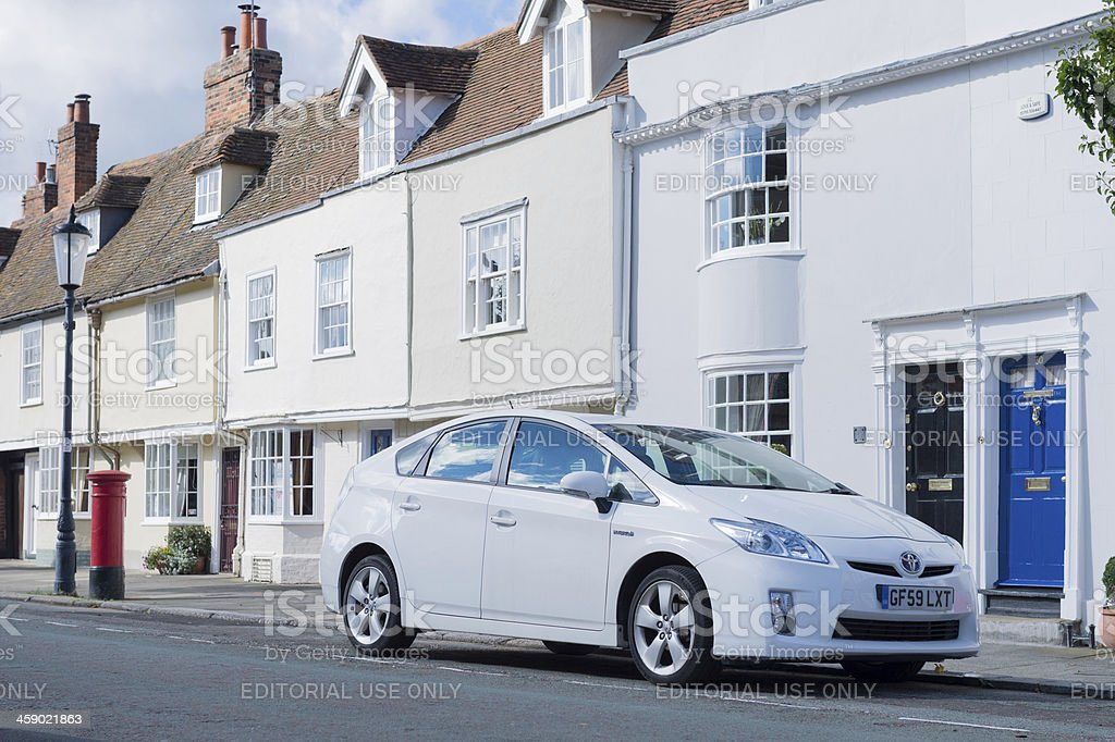Toyota Prius parked in front of residence stock photo