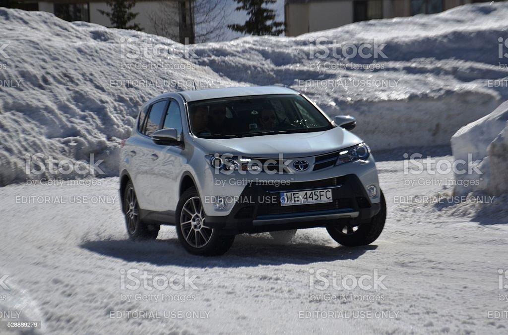 Toyota RAV4 on the ice track stock photo