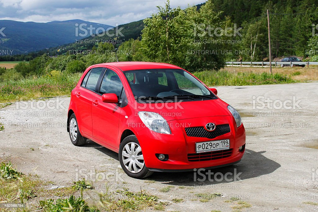 Toyota Yaris 1.3 on the resting area at the road. stock photo