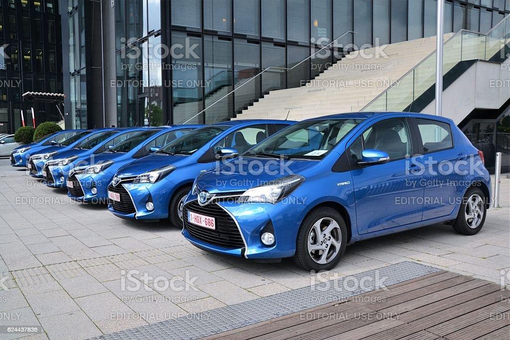 Toyota Yaris vehicles in hybrid version stock photo