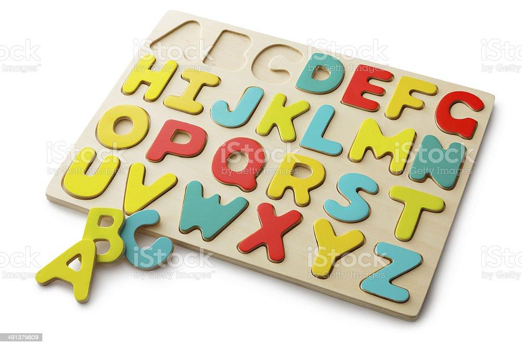 Toys: Alphabet Puzzle Isolated on White Background royalty-free stock photo