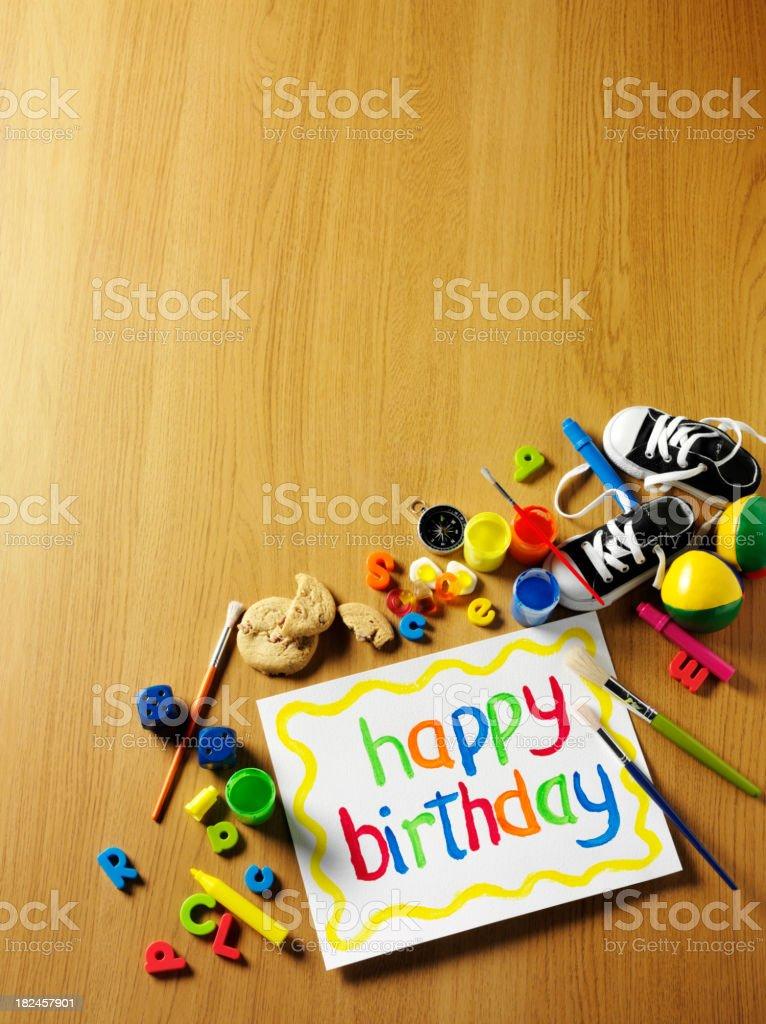 Toys and Happy Birthday royalty-free stock photo