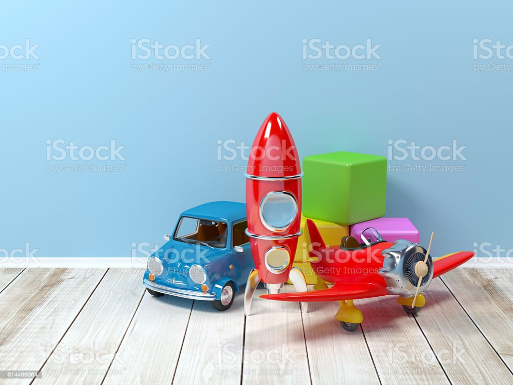 toys at wall stock photo