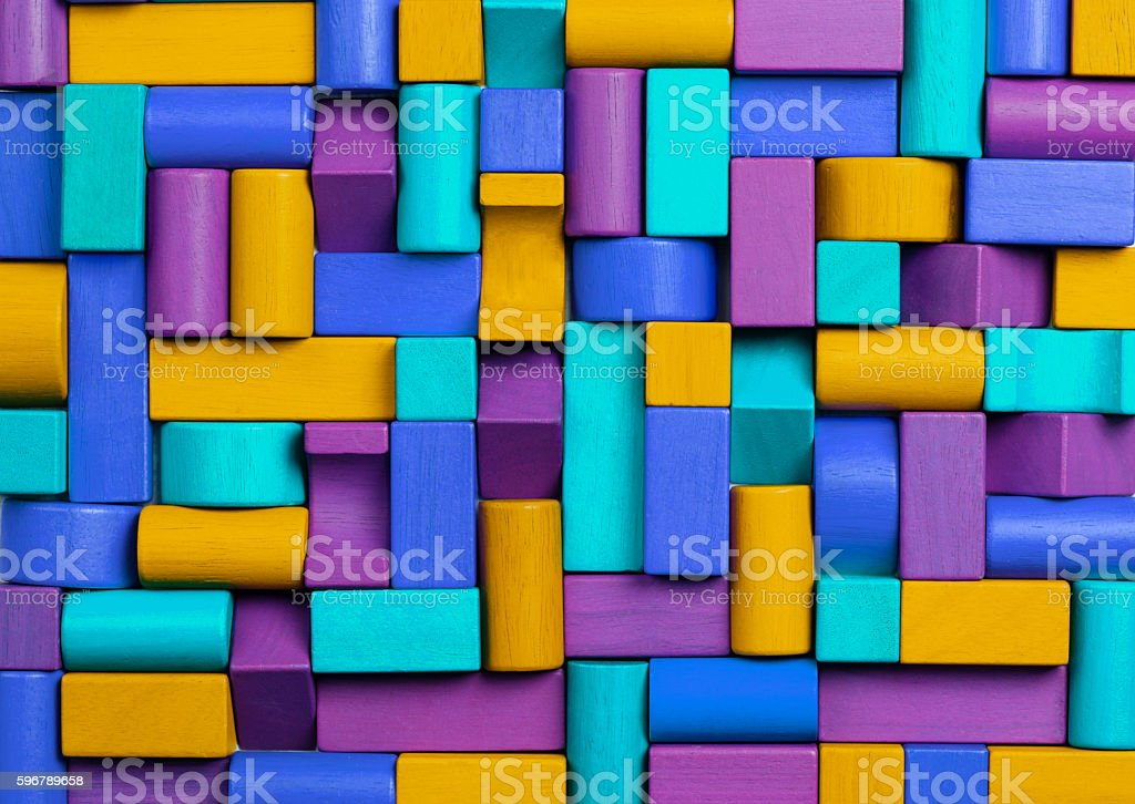 Toys Blocks Background, Abstract Mosaic Multicolored Kids Toy Bricks stock photo