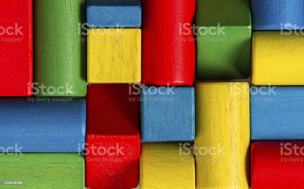 Toys blocks, multicolor wooden bricks, group of colorful building pieces stock photo