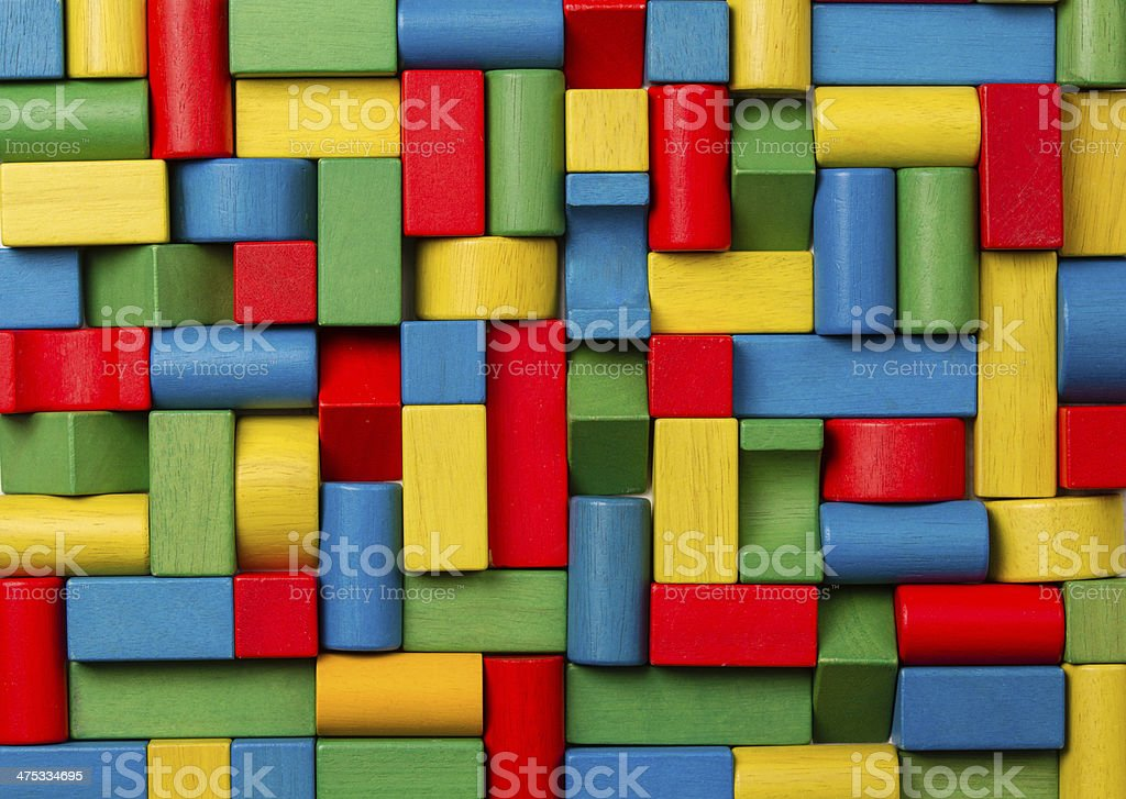 Toys blocks wooden bricks, group of colorful building game pieces stock photo