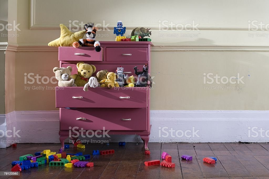 Toys in a dresser stock photo