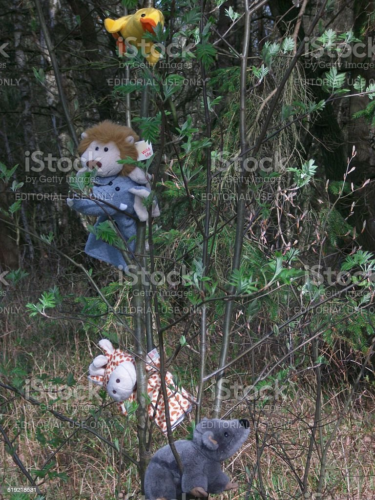 Toys in a tree stock photo