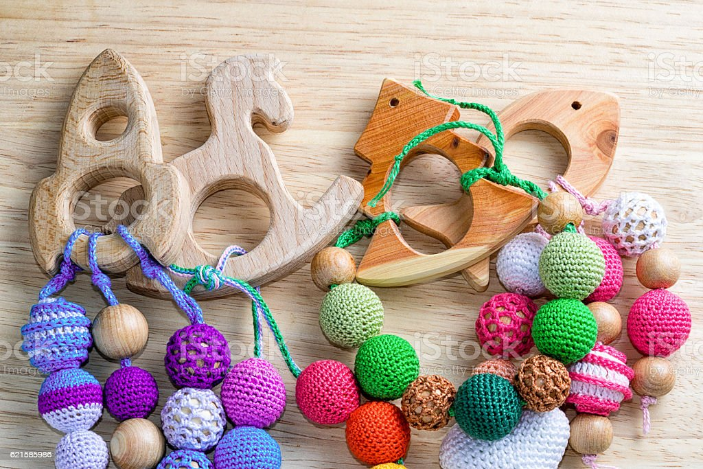 Toys on a wooden table. stock photo