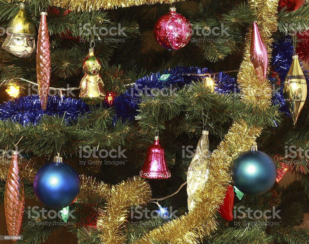 toys on green christmas fir stock photo