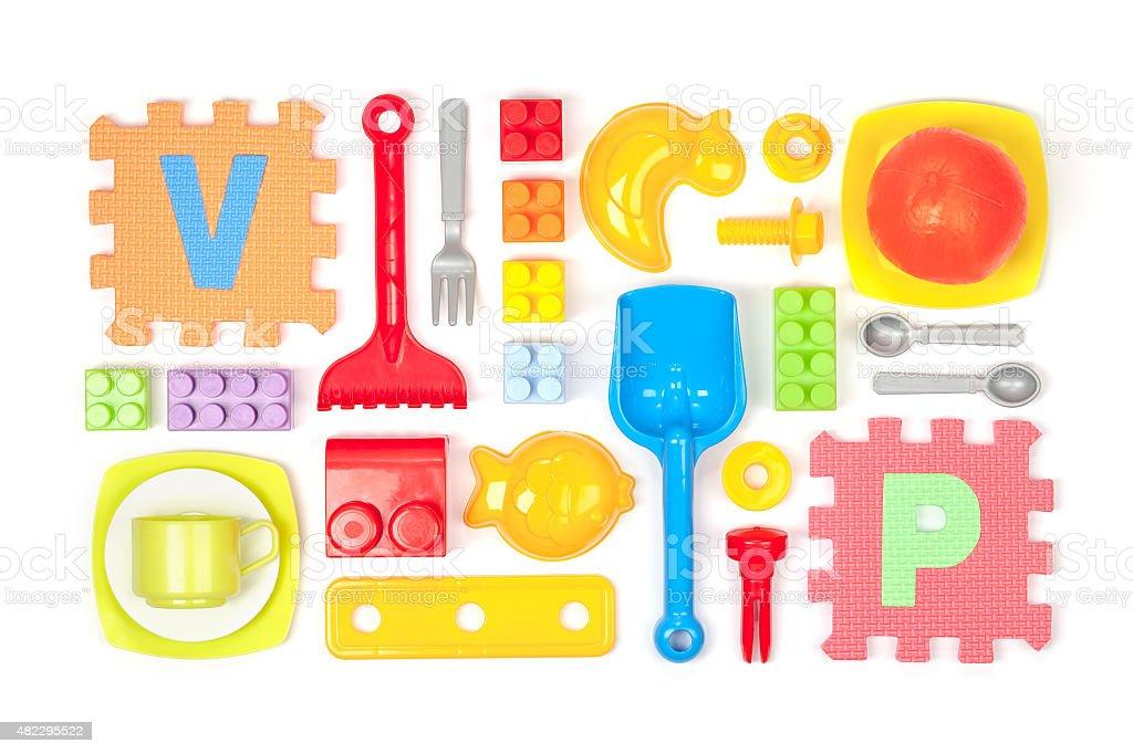 toys on white background stock photo