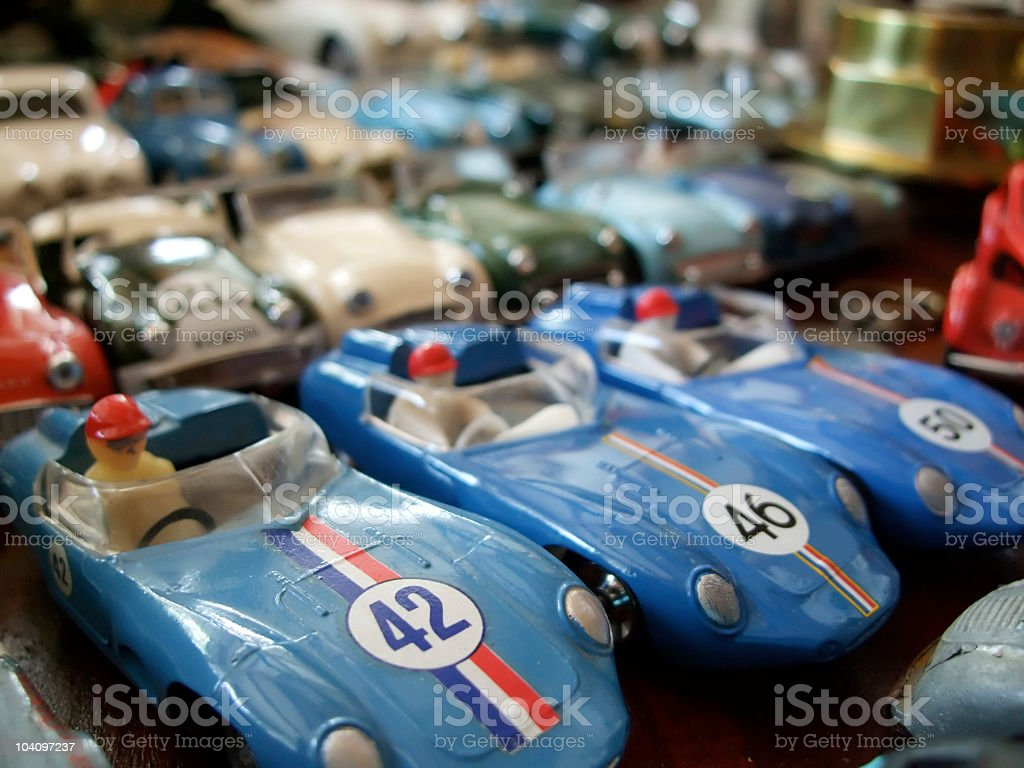 toys Racing Cars vintage models blue with a driver stock photo
