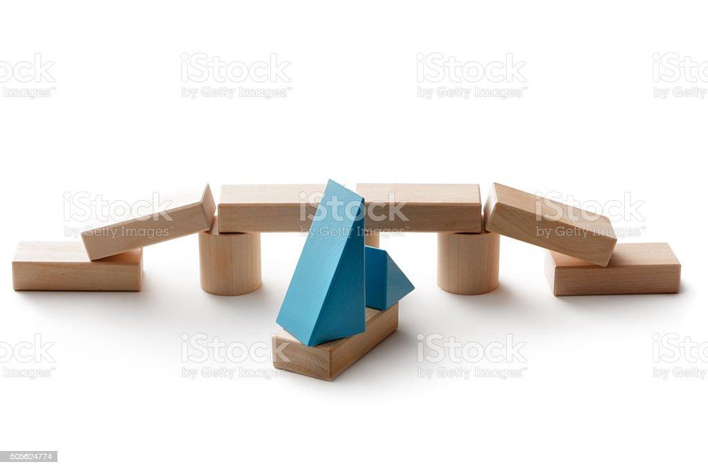 Toys: Toy Block Bridge stock photo