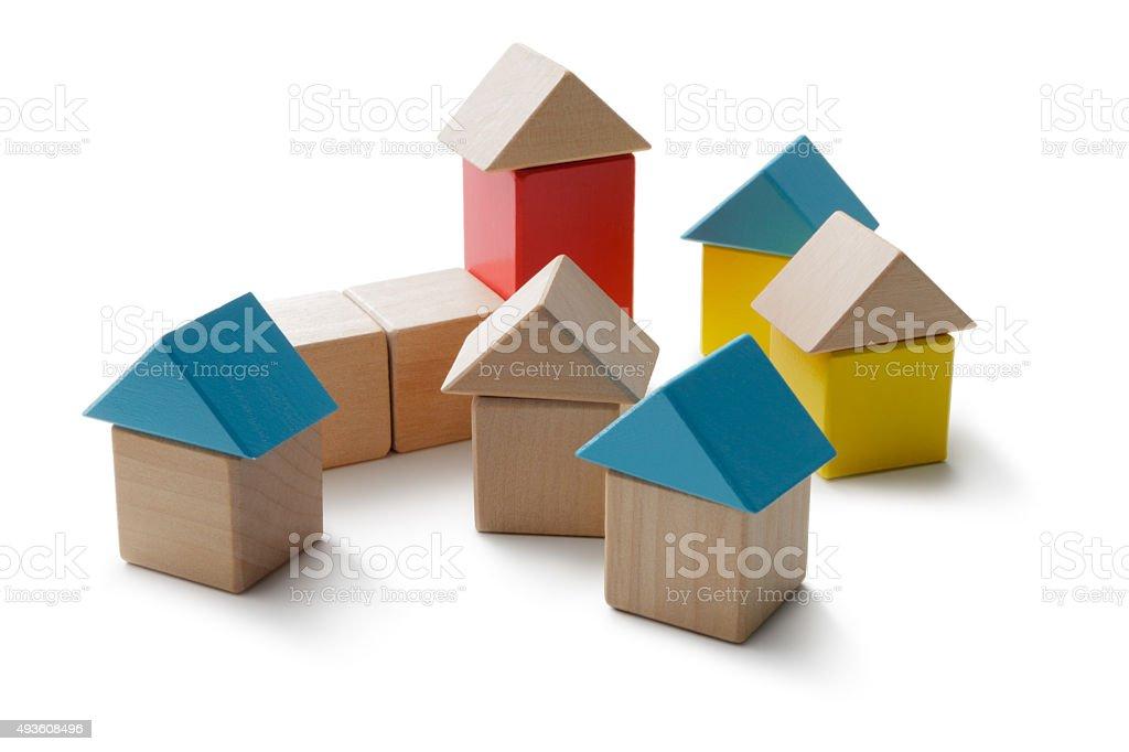 Toys: Toy Block Town stock photo